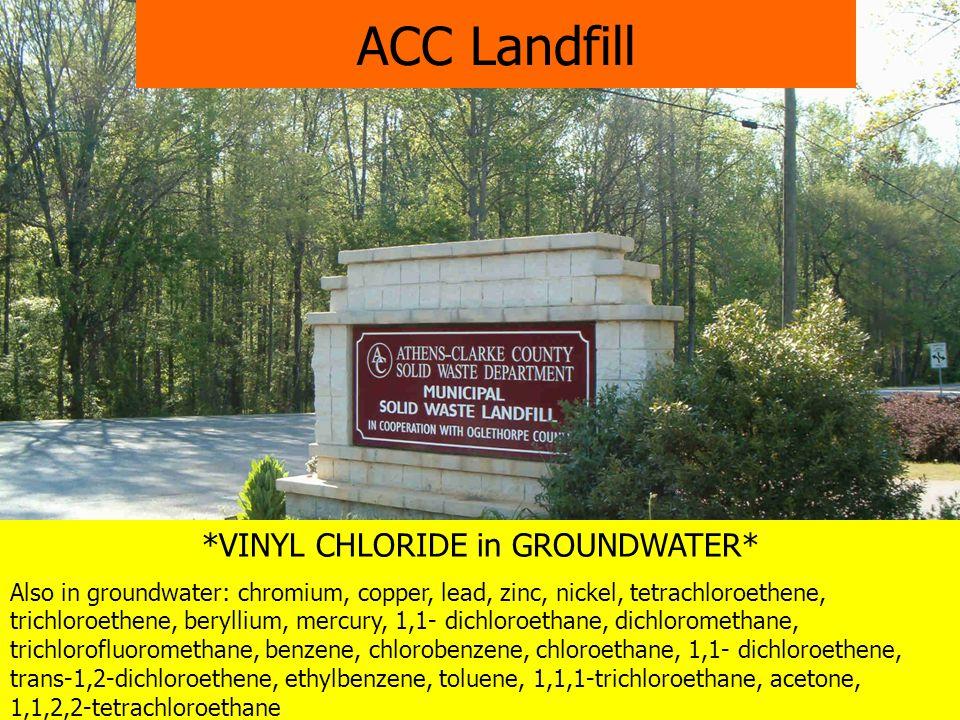 *VINYL CHLORIDE in GROUNDWATER* Also in groundwater: chromium, copper, lead, zinc, nickel, tetrachloroethene, trichloroethene, beryllium, mercury, 1,1- dichloroethane, dichloromethane, trichlorofluoromethane, benzene, chlorobenzene, chloroethane, 1,1- dichloroethene, trans-1,2-dichloroethene, ethylbenzene, toluene, 1,1,1-trichloroethane, acetone, 1,1,2,2-tetrachloroethane ACC Landfill