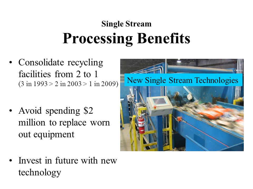 Single Stream Processing Benefits Consolidate recycling facilities from 2 to 1 (3 in 1993 > 2 in 2003 > 1 in 2009) Avoid spending $2 million to replace worn out equipment Invest in future with new technology New Single Stream Technologies