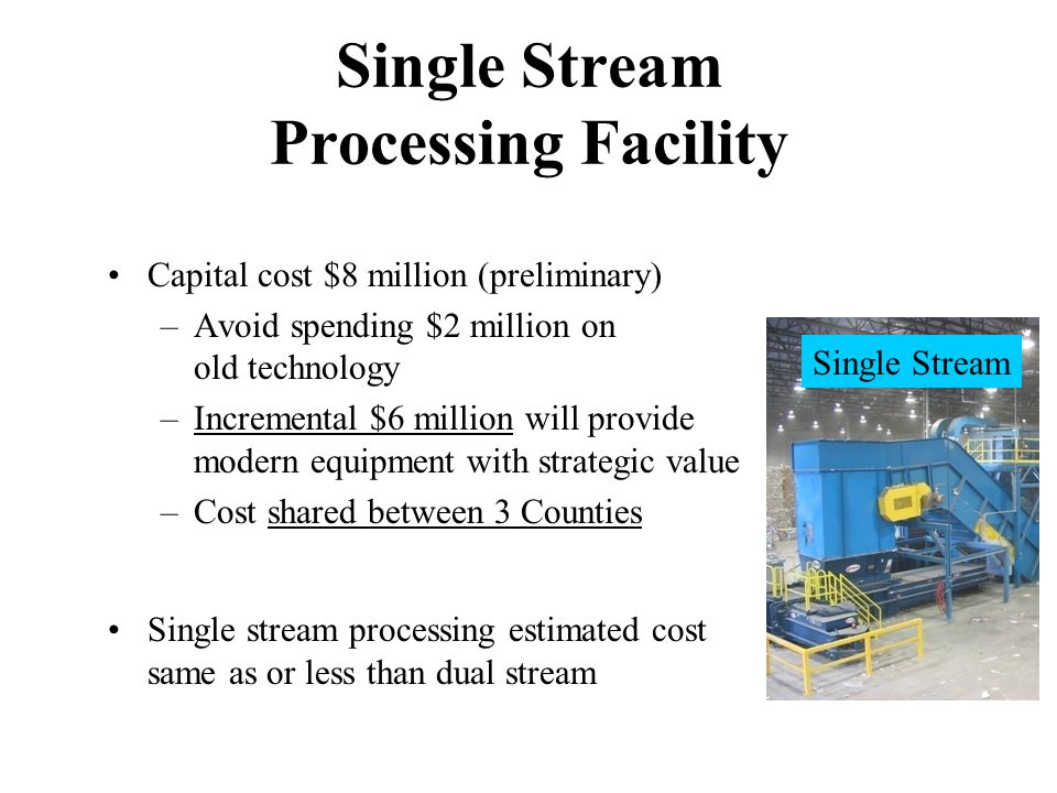 Single Stream Processing Facility Capital cost $8 million (preliminary) –Avoid spending $2 million on old technology –Incremental $6 million will provide modern equipment with strategic value –Cost shared between 3 Counties Single stream processing estimated cost same as or less than dual stream Single Stream