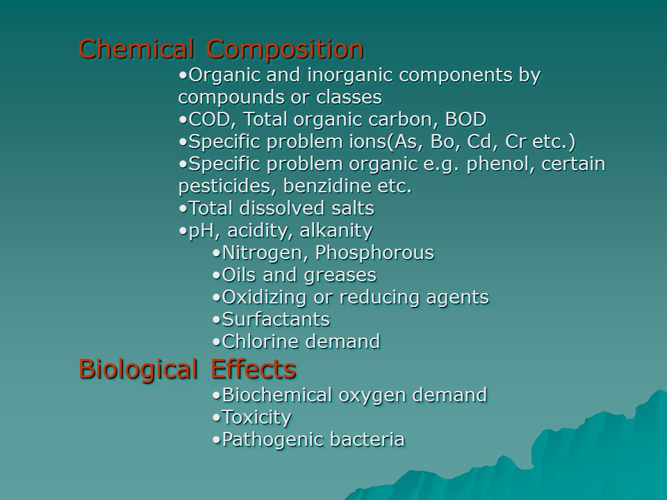 Chemical Composition Organic and inorganic components by compounds or classesOrganic and inorganic components by compounds or classes COD, Total organ