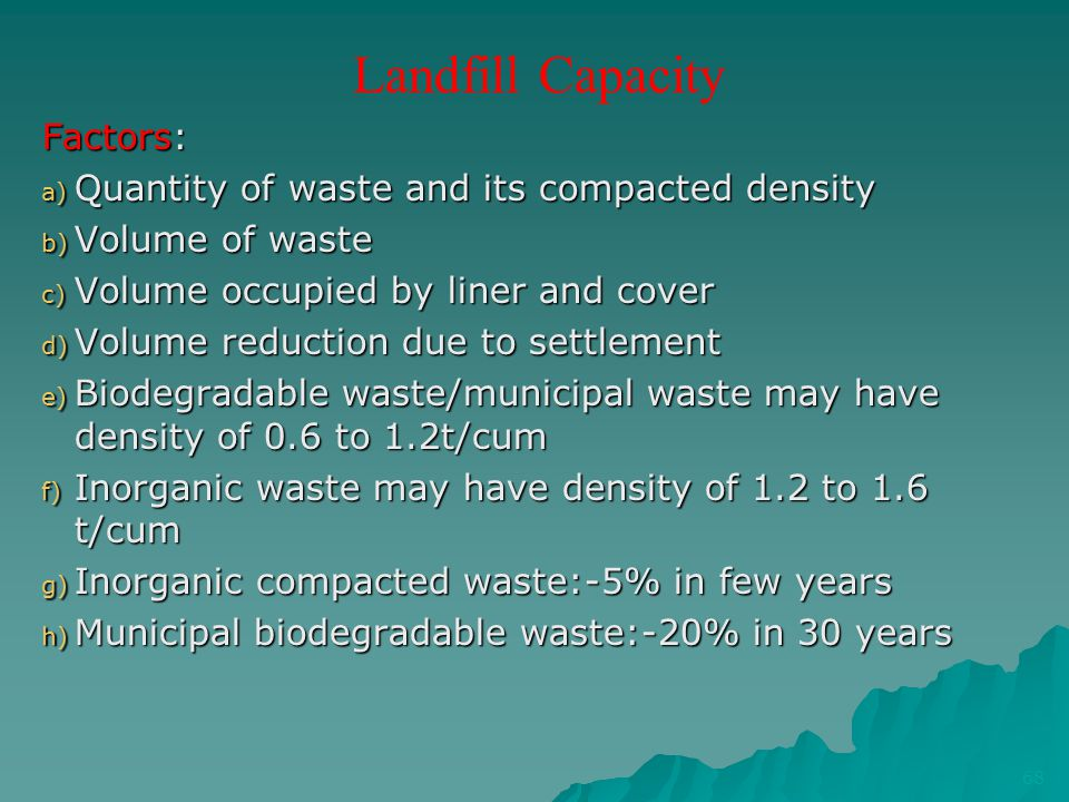 Landfill Capacity Factors: a) Quantity of waste and its compacted density b) Volume of waste c) Volume occupied by liner and cover d) Volume reduction