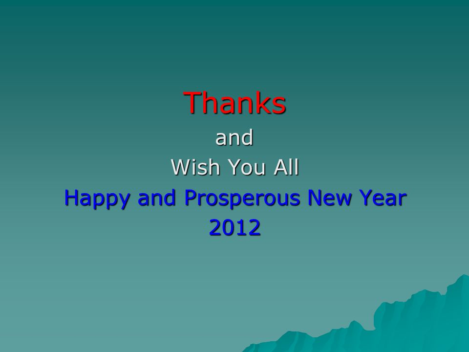 Thanksand Wish You All Happy and Prosperous New Year 2012