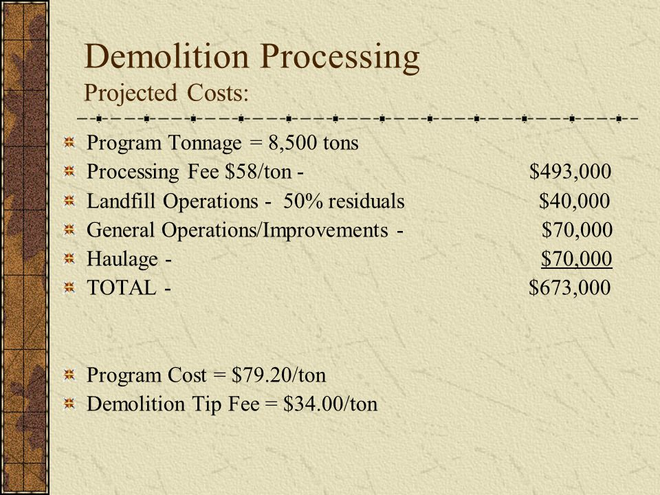 Demolition Processing Projected Costs: Program Tonnage = 8,500 tons Processing Fee $58/ton - $493,000 Landfill Operations - 50% residuals $40,000 General Operations/Improvements - $70,000 Haulage - $70,000 TOTAL - $673,000 Program Cost = $79.20/ton Demolition Tip Fee = $34.00/ton