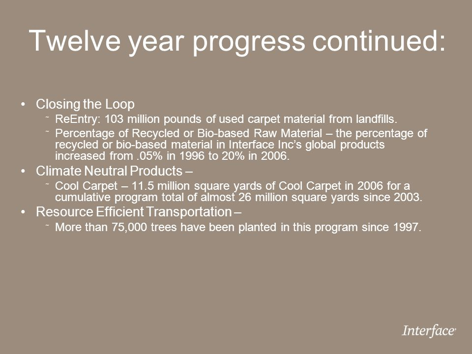 Twelve year progress continued: Closing the Loop ˜ ReEntry: 103 million pounds of used carpet material from landfills. ˜ Percentage of Recycled or Bio