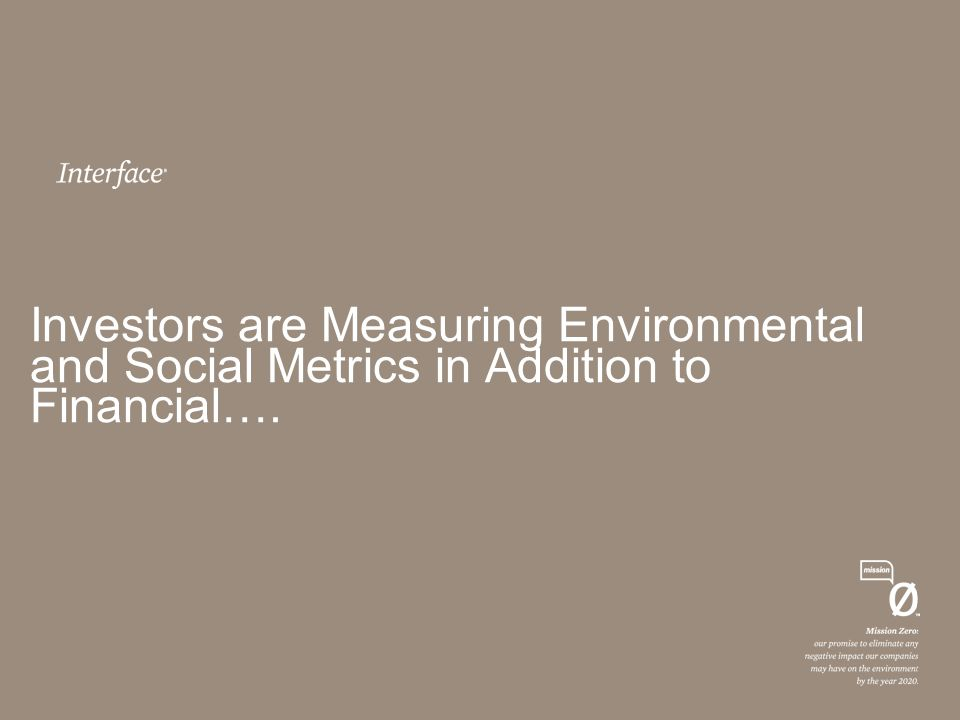 Investors are Measuring Environmental and Social Metrics in Addition to Financial….