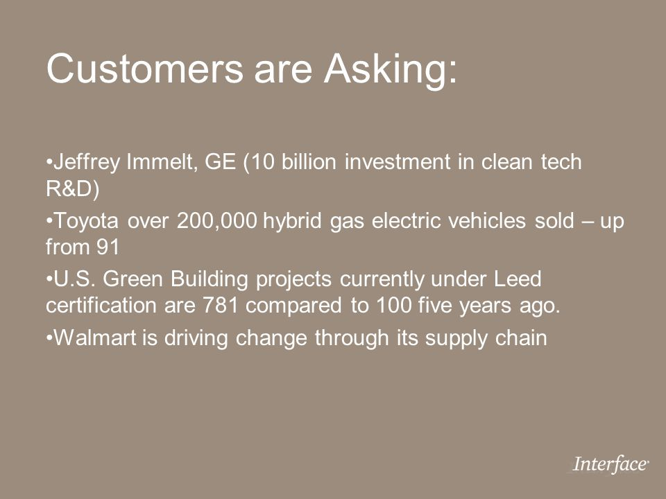 Customers are Asking: Jeffrey Immelt, GE (10 billion investment in clean tech R&D) Toyota over 200,000 hybrid gas electric vehicles sold – up from 91