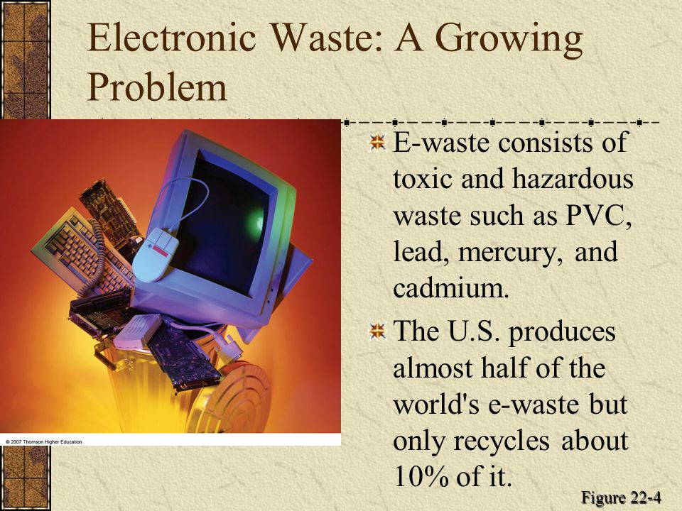 Electronic Waste: A Growing Problem E-waste consists of toxic and hazardous waste such as PVC, lead, mercury, and cadmium. The U.S. produces almost ha