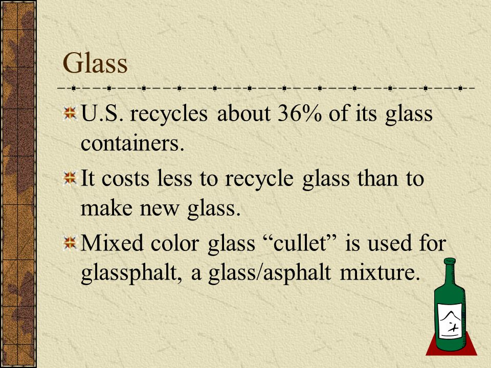 """Glass U.S. recycles about 36% of its glass containers. It costs less to recycle glass than to make new glass. Mixed color glass """"cullet"""" is used for g"""