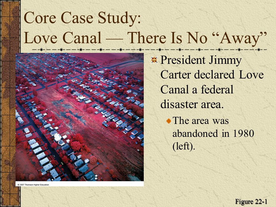 Core Case Study: Love Canal — There Is No Away President Jimmy Carter declared Love Canal a federal disaster area.