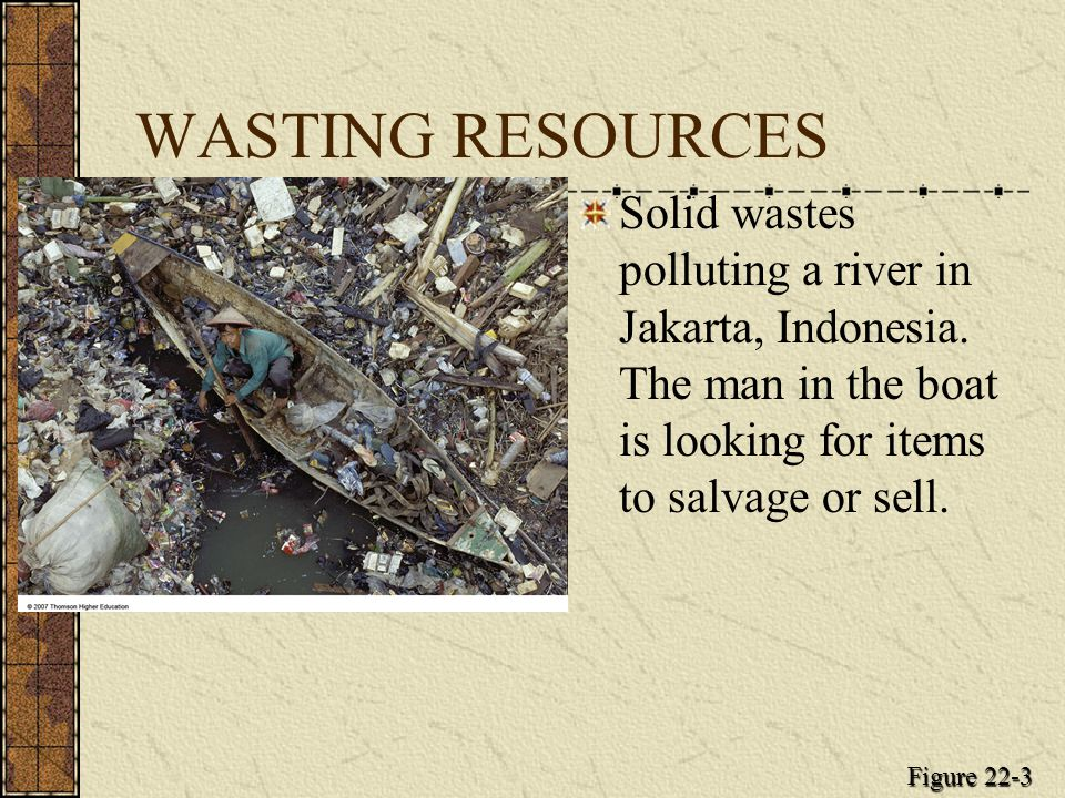 WASTING RESOURCES Solid wastes polluting a river in Jakarta, Indonesia.