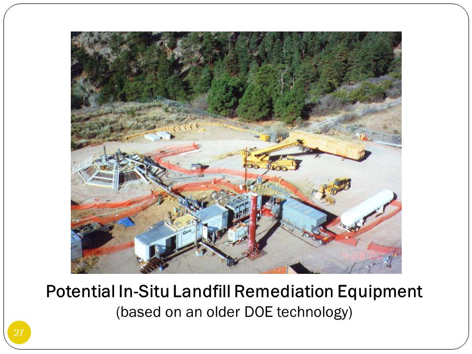 27 Potential In-Situ Landfill Remediation Equipment (based on an older DOE technology)