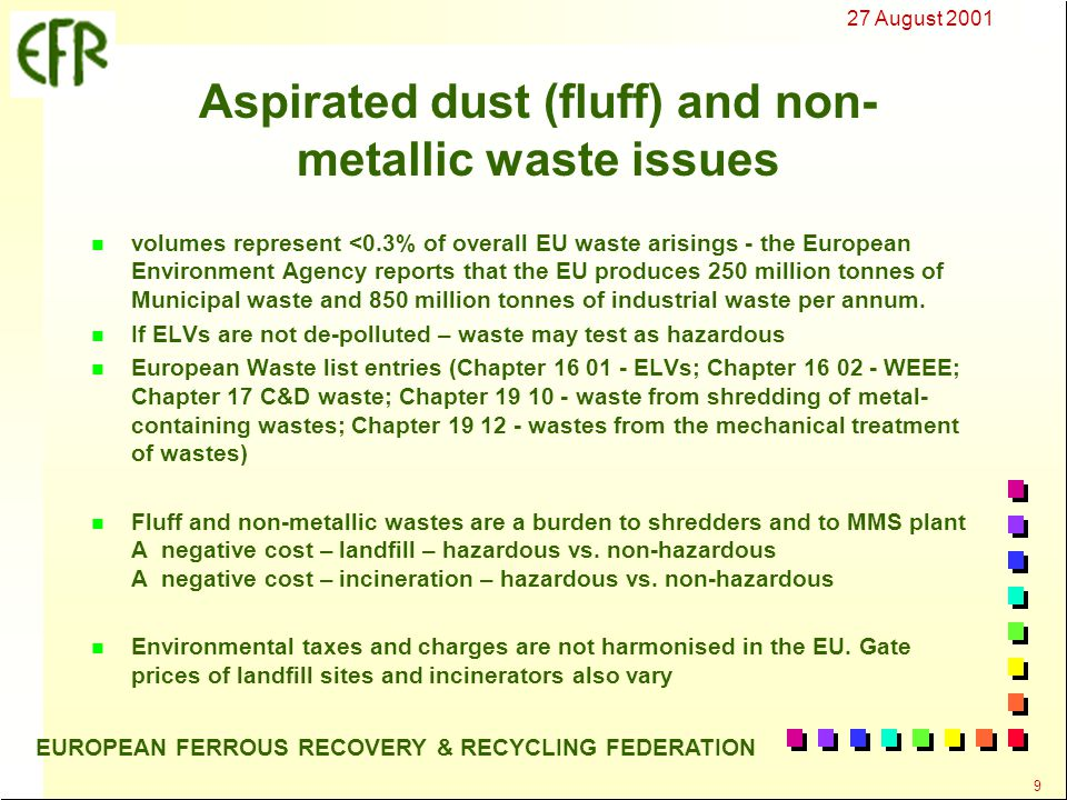 27 August 2001 10 EUROPEAN FERROUS RECOVERY & RECYCLING FEDERATION Aspirated dust (fluff) and non- metallic waste issues - Reducing the burden on the environment - n Reduce the volumes arising by:- n Design ( reduce the amount of non-metals – or reduce the types of non- metals – select recyclable non-metals) n Dismantling before shredding n Separation for material recovery after shredding n Reduce the hazardous nature of arisings n design (reduce hazardous components in vehicles) n depollute ELVs before shredding n Increase re-use and recycling as alternatives to landfill and incineration