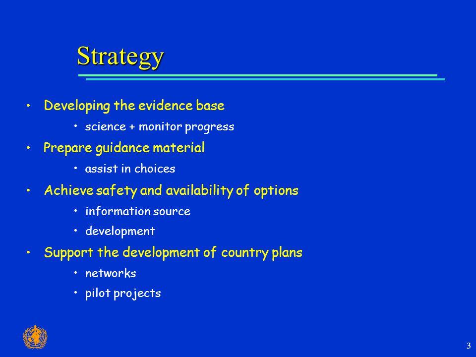 3 Strategy Developing the evidence base science + monitor progress Prepare guidance material assist in choices Achieve safety and availability of options information source development Support the development of country plans networks pilot projects