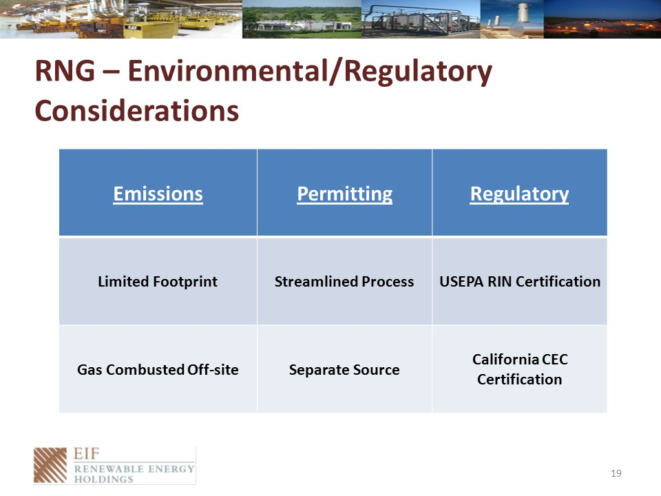 RNG – Environmental/Regulatory Considerations 19 EmissionsPermittingRegulatory Limited FootprintStreamlined ProcessUSEPA RIN Certification Gas Combusted Off-siteSeparate Source California CEC Certification