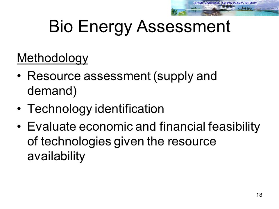 18 Bio Energy Assessment Methodology Resource assessment (supply and demand) Technology identification Evaluate economic and financial feasibility of technologies given the resource availability