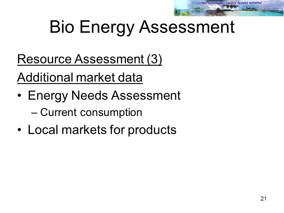 21 Bio Energy Assessment Resource Assessment (3) Additional market data Energy Needs Assessment –Current consumption Local markets for products