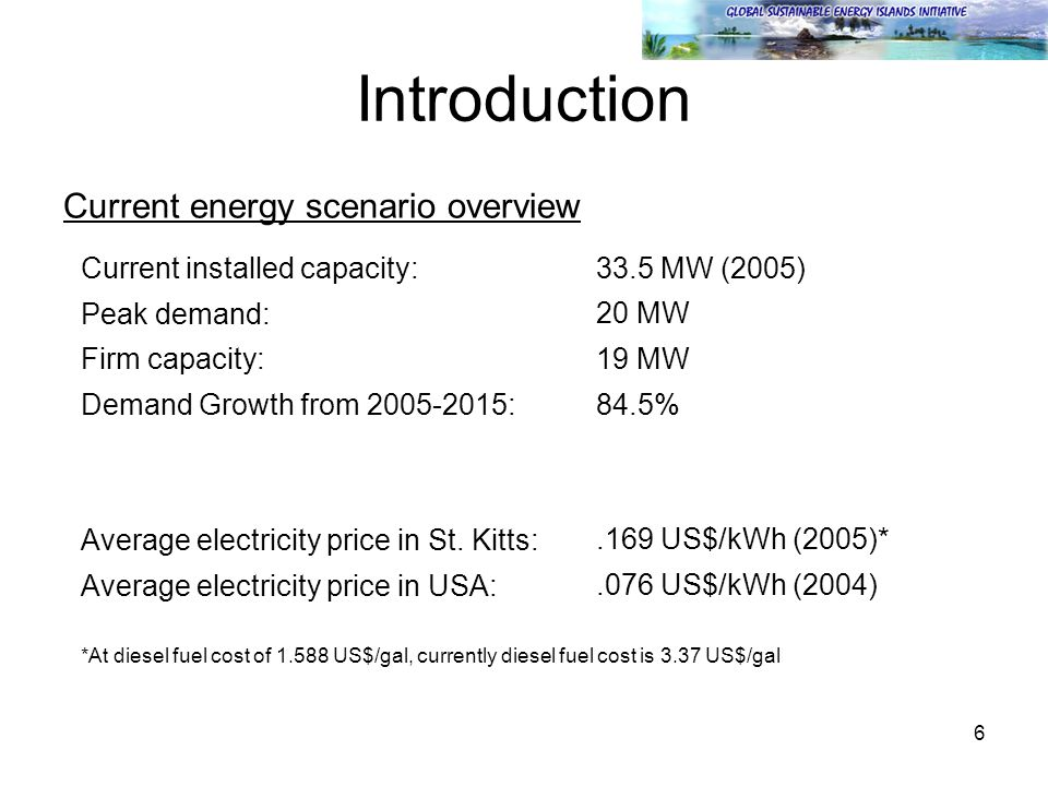 6 Introduction Current energy scenario overview Current installed capacity: 33.5 MW (2005) Peak demand: 20 MW Firm capacity: 19 MW Demand Growth from