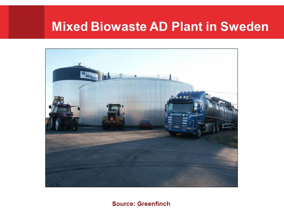 Mixed Biowaste AD Plant in Sweden Source: Greenfinch