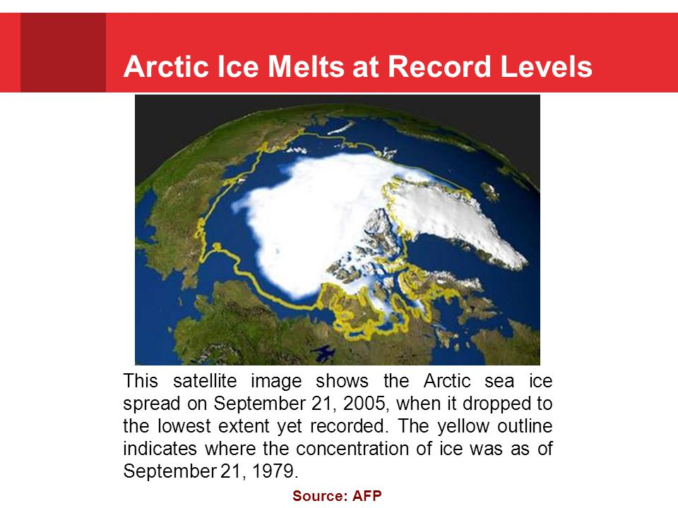 Arctic Ice Melts at Record Levels This satellite image shows the Arctic sea ice spread on September 21, 2005, when it dropped to the lowest extent yet recorded.