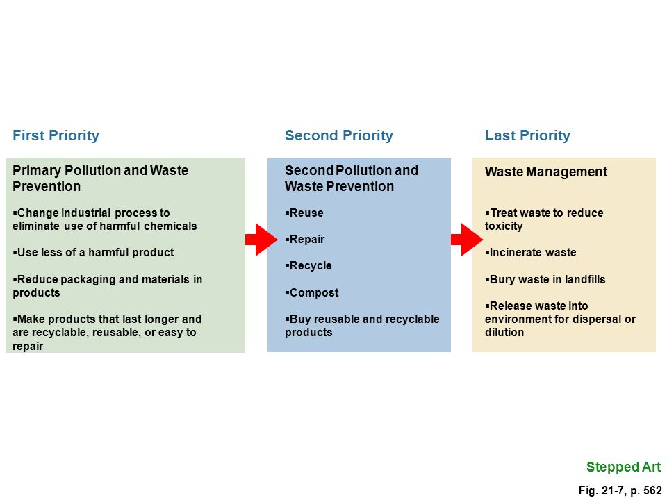 Last Priority Waste Management  Treat waste to reduce toxicity  Incinerate waste  Bury waste in landfills  Release waste into environment for dispersal or dilution Stepped Art Second Priority Second Pollution and Waste Prevention  Reuse  Repair  Recycle  Compost  Buy reusable and recyclable products First Priority Primary Pollution and Waste Prevention  Change industrial process to eliminate use of harmful chemicals  Use less of a harmful product  Reduce packaging and materials in products  Make products that last longer and are recyclable, reusable, or easy to repair Fig.