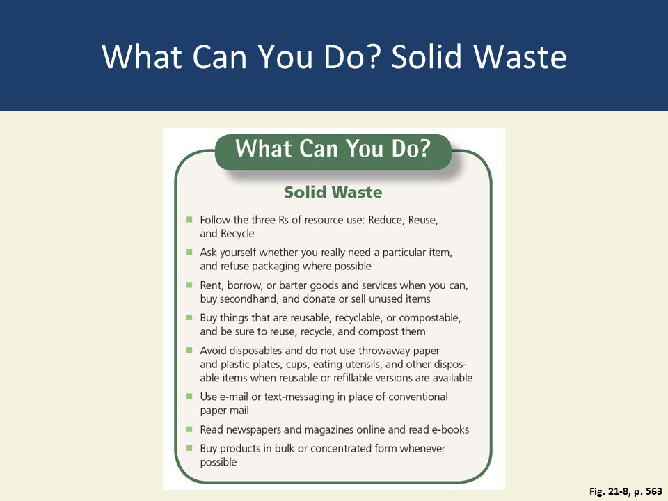 What Can You Do Solid Waste Fig. 21-8, p. 563