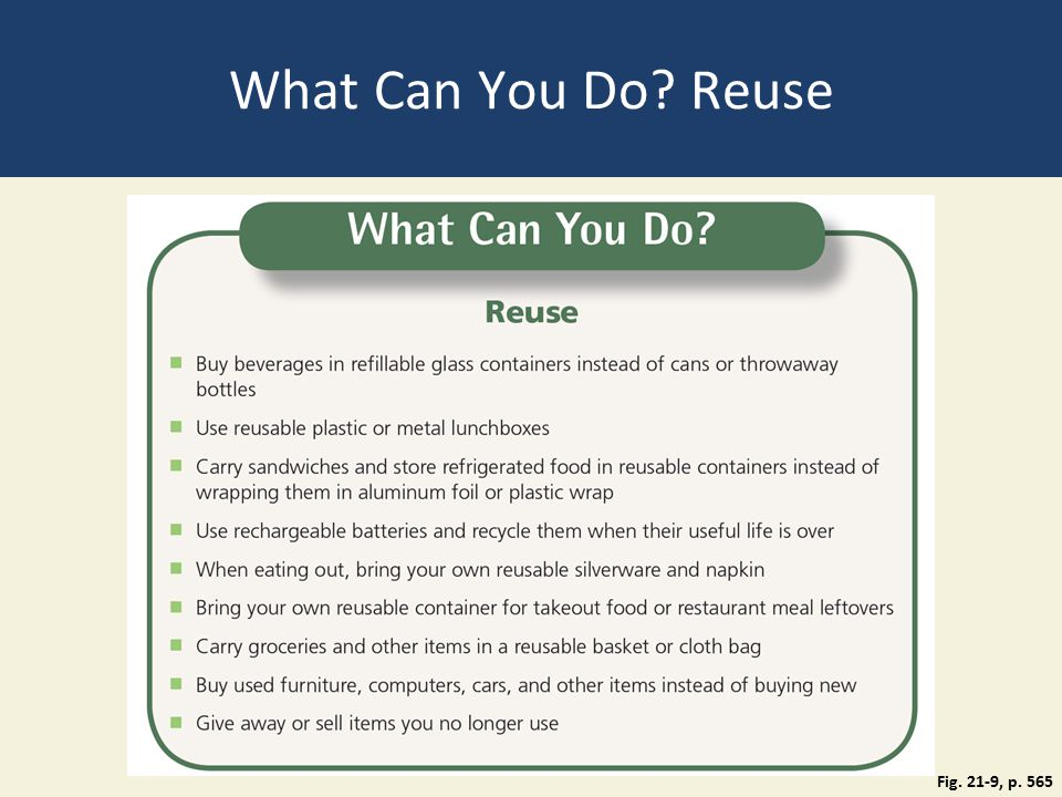 What Can You Do Reuse Fig. 21-9, p. 565