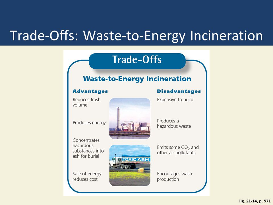 Trade-Offs: Waste-to-Energy Incineration Fig. 21-14, p. 571