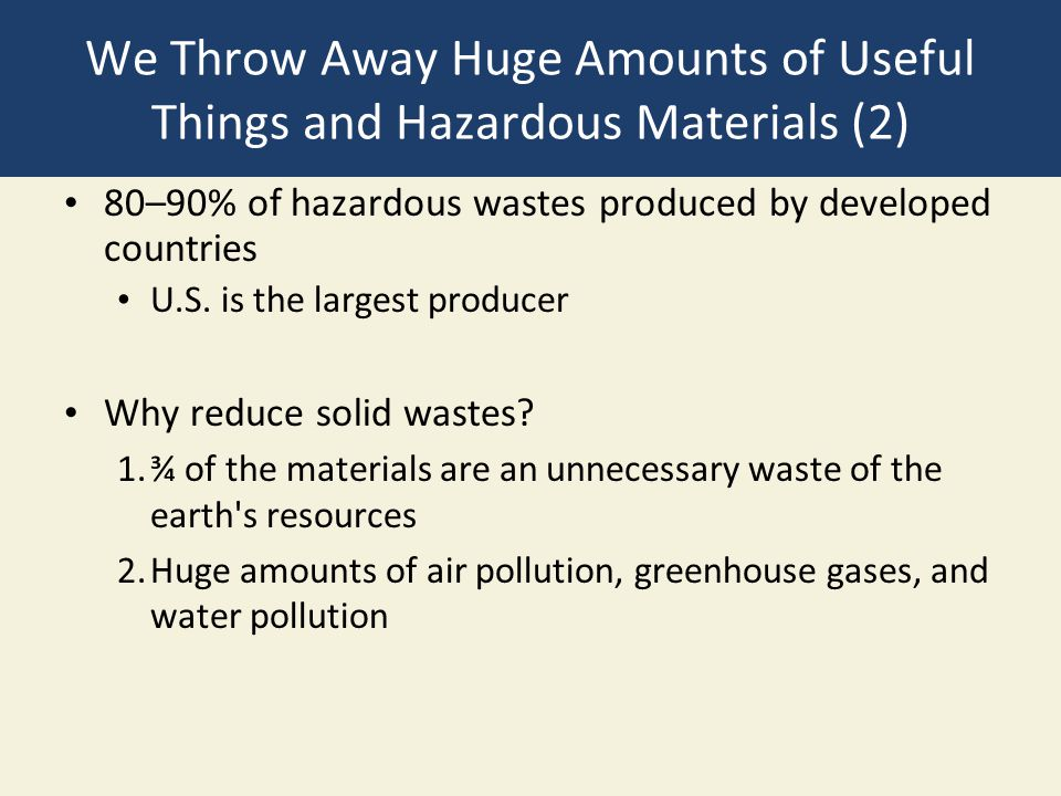 We Throw Away Huge Amounts of Useful Things and Hazardous Materials (2) 80–90% of hazardous wastes produced by developed countries U.S.