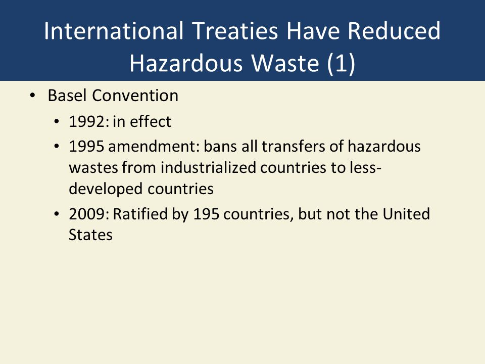 International Treaties Have Reduced Hazardous Waste (1) Basel Convention 1992: in effect 1995 amendment: bans all transfers of hazardous wastes from industrialized countries to less- developed countries 2009: Ratified by 195 countries, but not the United States