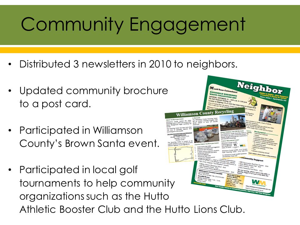 Distributed 3 newsletters in 2010 to neighbors. Updated community brochure to a post card.