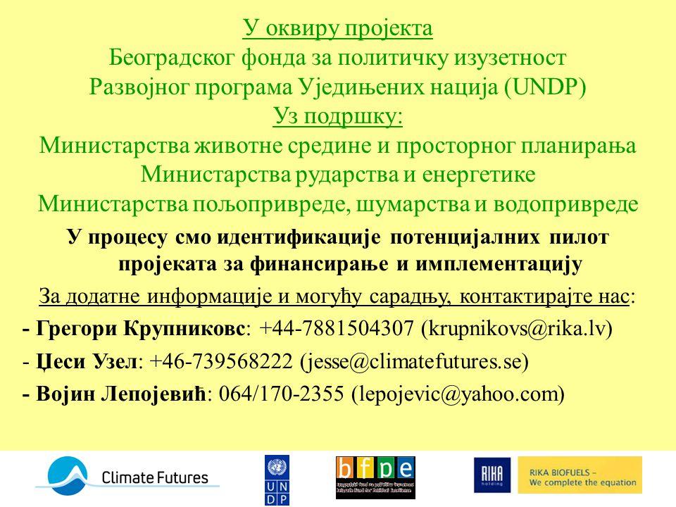 У оквиру пројекта Београдског фонда за политичку изузетност Развојног програма Уједињених нација (UNDP) Уз подршку: Министарства животне средине и просторног планирања Министарства рударства и енергетике Министарства пољопривреде, шумарства и водопривреде У процесу смо идентификације потенцијалних пилот пројеката за финансирање и имплементацију За додатне информације и могућу сарадњу, контактирајте нас: - Грегори Крупниковс: +44-7881504307 (krupnikovs@rika.lv) - Џеси Узел: +46-739568222 (jesse@climatefutures.se) - Војин Лепојевић: 064/170-2355 (lepojevic@yahoo.com)