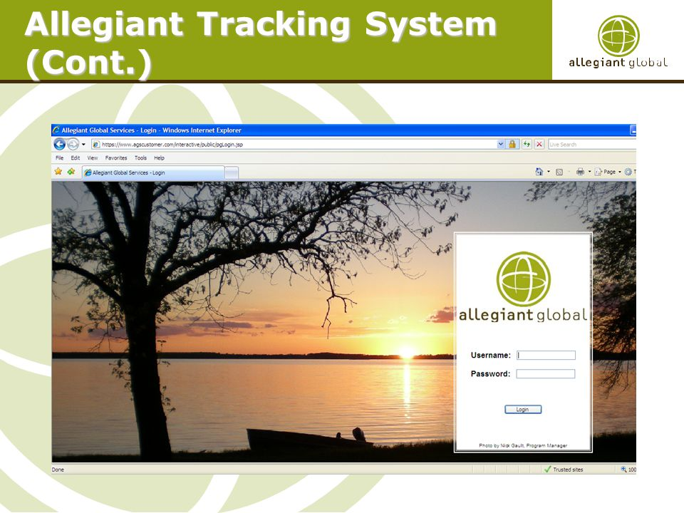 Allegiant Tracking System (Cont.)
