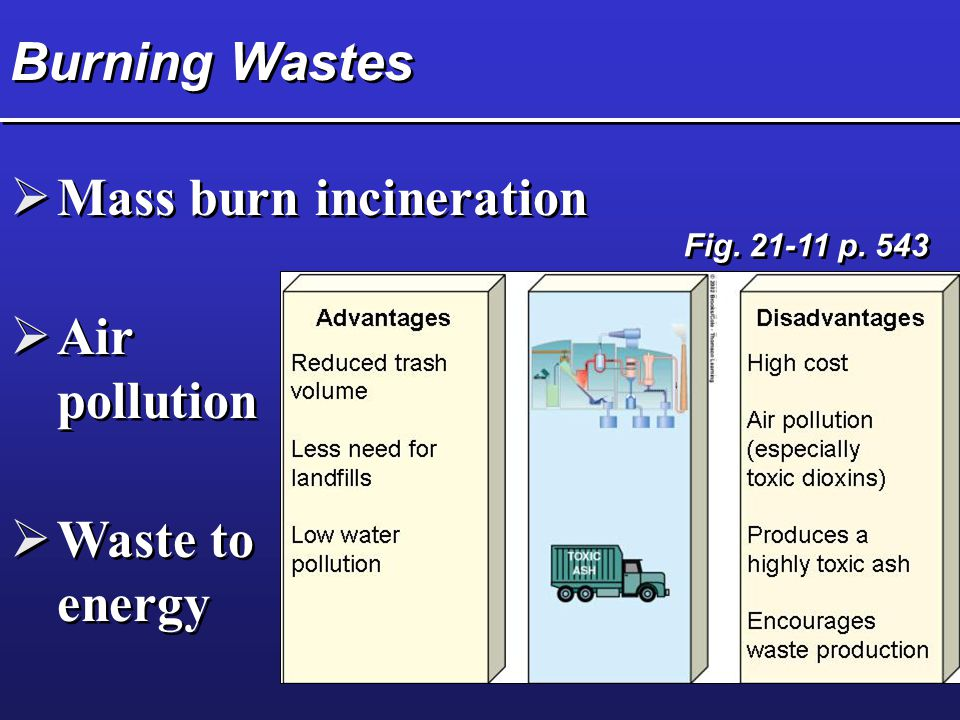 Burning Wastes  Mass burn incineration  Air pollution  Waste to energy Fig. 21-11 p. 543