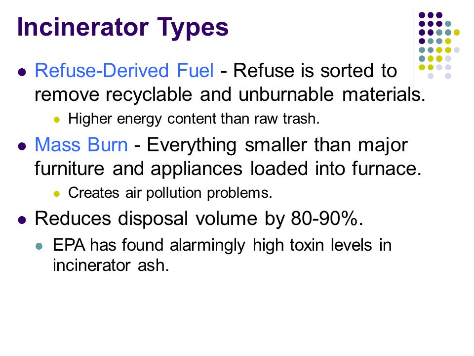 Incinerator Types Refuse-Derived Fuel - Refuse is sorted to remove recyclable and unburnable materials.