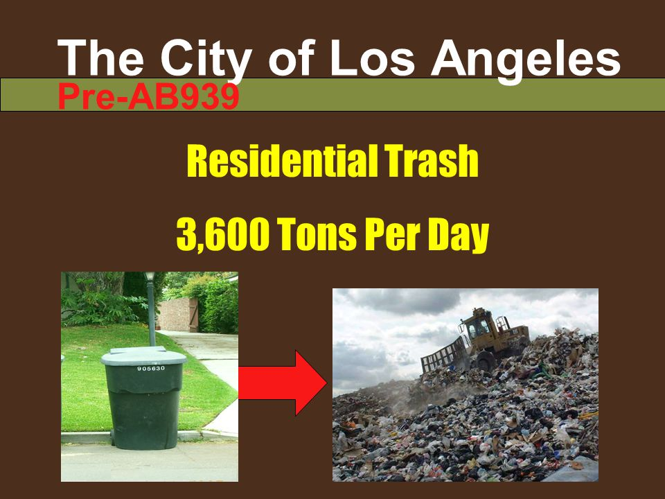 The City of Los Angeles Pre-AB939 Residential Trash 3,600 Tons Per Day