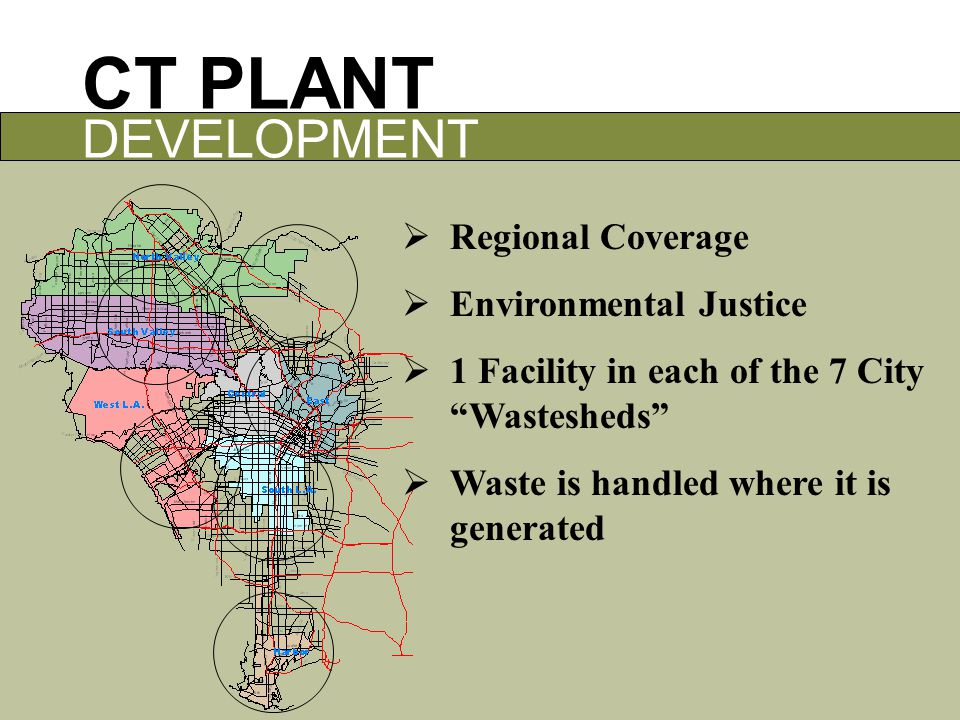 CT PLANT DEVELOPMENT  Regional Coverage  Environmental Justice  1 Facility in each of the 7 City Wastesheds  Waste is handled where it is generated
