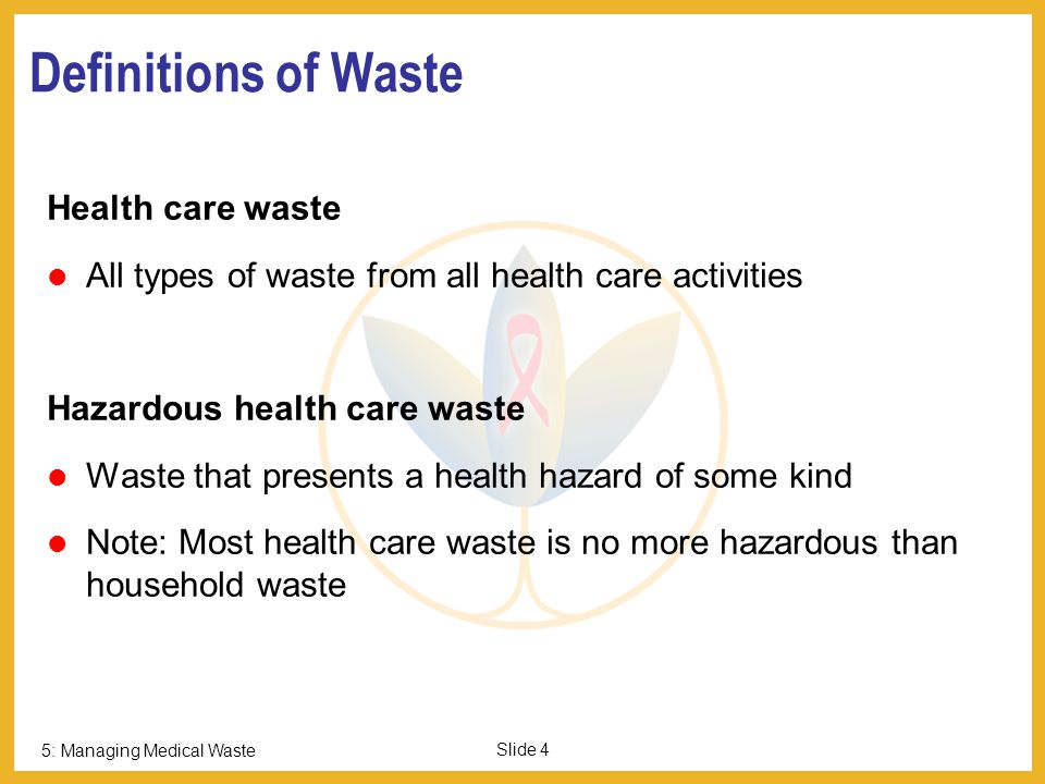 Part I: Health Care Waste Overview