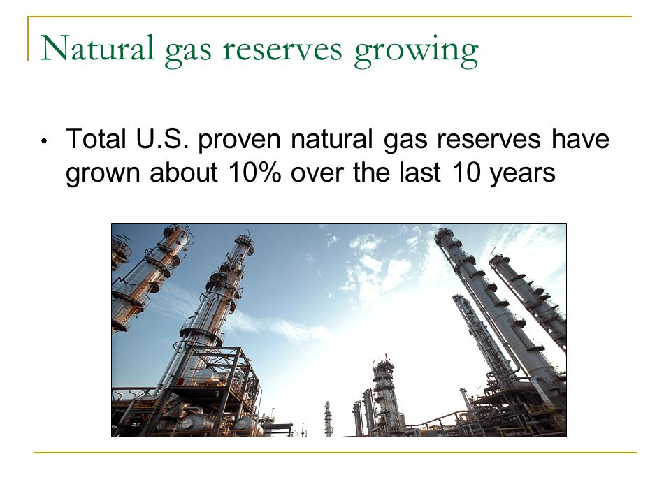Natural gas reserves growing Total U.S.