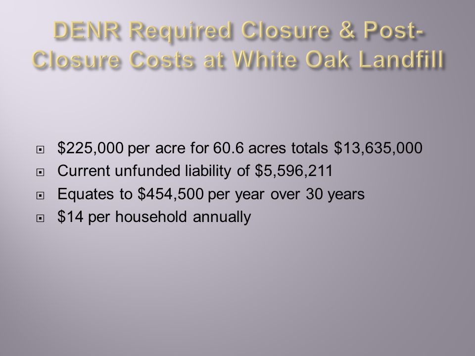  $225,000 per acre for 60.6 acres totals $13,635,000  Current unfunded liability of $5,596,211  Equates to $454,500 per year over 30 years  $14 per household annually