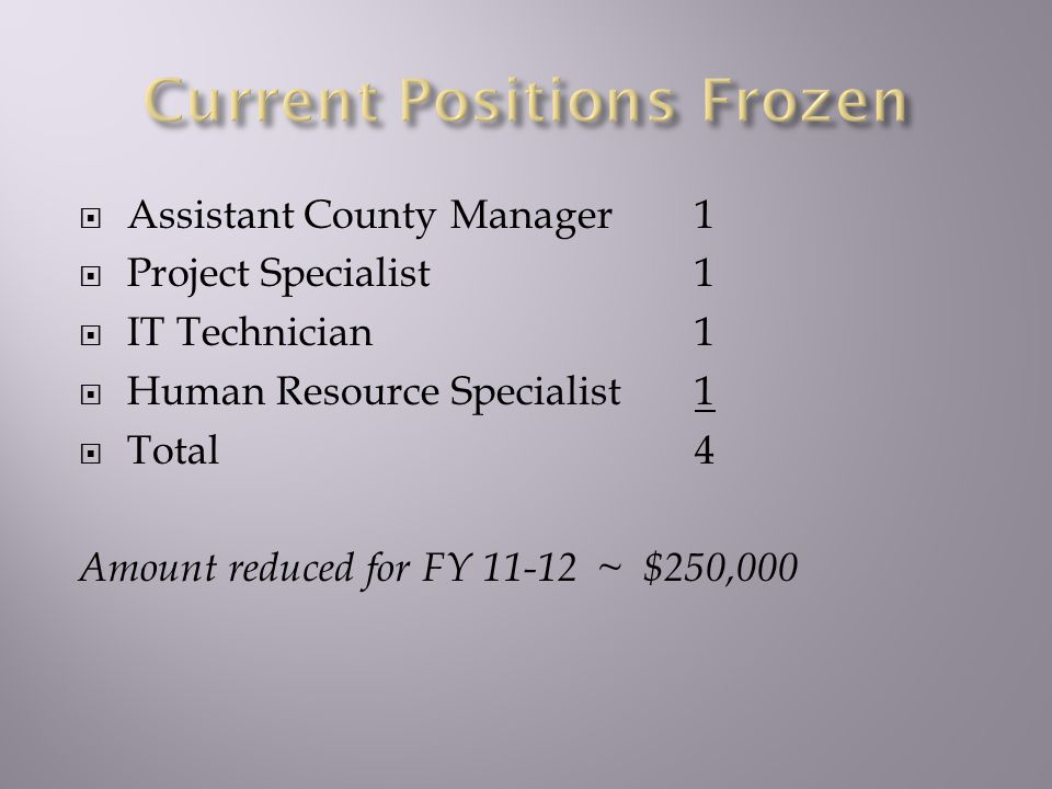  Assistant County Manager1  Project Specialist1  IT Technician1  Human Resource Specialist1  Total 4 Amount reduced for FY 11-12 ~ $250,000