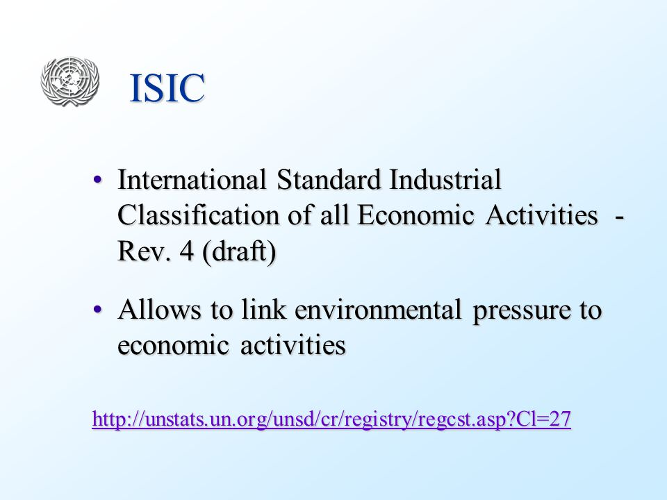 ISIC International Standard Industrial Classification of all Economic Activities - Rev.