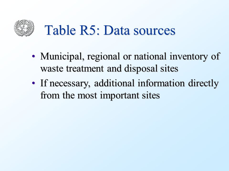 Table R5: Data sources Municipal, regional or national inventory of waste treatment and disposal sitesMunicipal, regional or national inventory of waste treatment and disposal sites If necessary, additional information directly from the most important sitesIf necessary, additional information directly from the most important sites