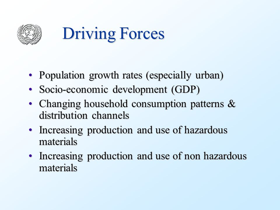 Driving Forces Population growth rates (especially urban)Population growth rates (especially urban) Socio-economic development (GDP)Socio-economic development (GDP) Changing household consumption patterns & distribution channelsChanging household consumption patterns & distribution channels Increasing production and use of hazardous materialsIncreasing production and use of hazardous materials Increasing production and use of non hazardous materialsIncreasing production and use of non hazardous materials