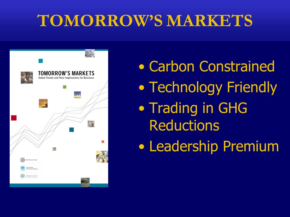 TOMORROW'S MARKETS Carbon Constrained Technology Friendly Trading in GHG Reductions Leadership Premium