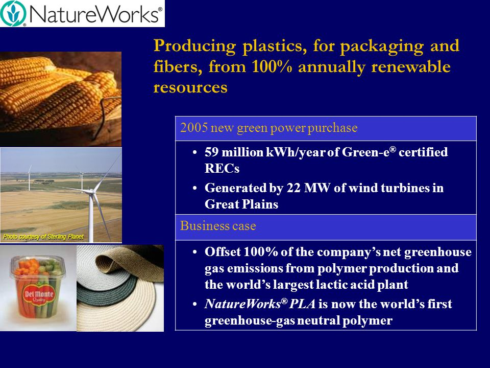 Producing plastics, for packaging and fibers, from 100% annually renewable resources 2005 new green power purchase 59 million kWh/year of Green-e ® ce