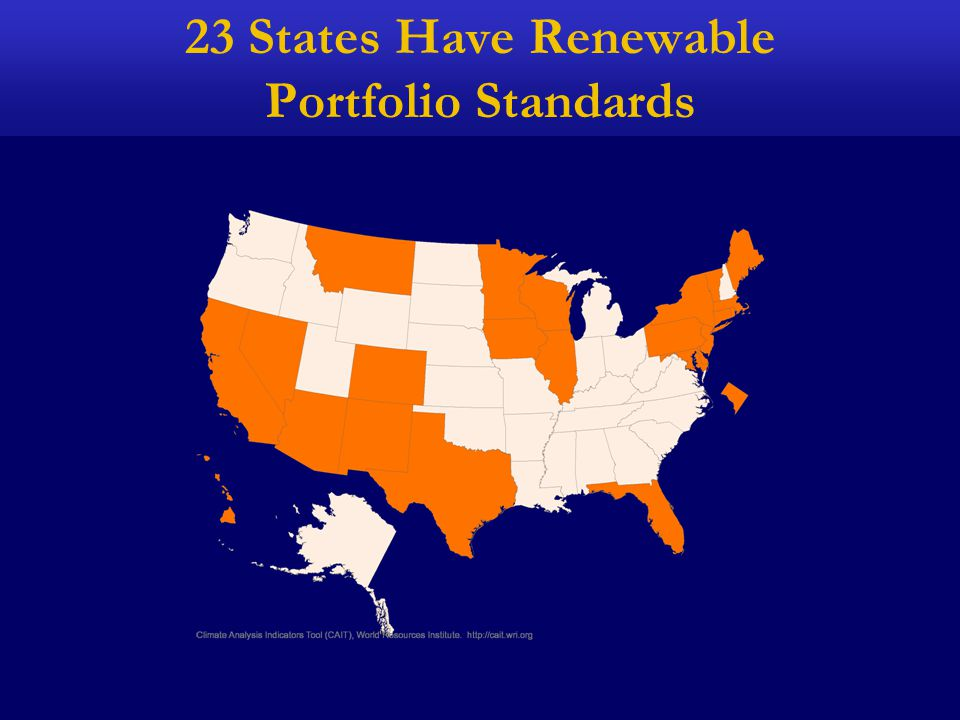 23 States Have Renewable Portfolio Standards