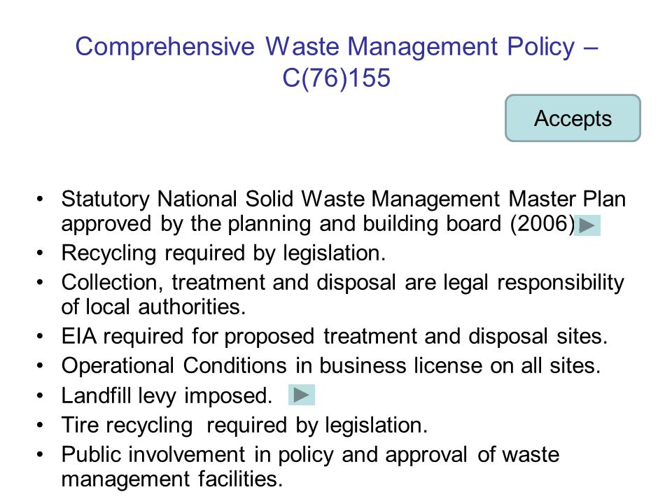 Comprehensive Waste Management Policy – C(76)155 Statutory National Solid Waste Management Master Plan approved by the planning and building board (2006).