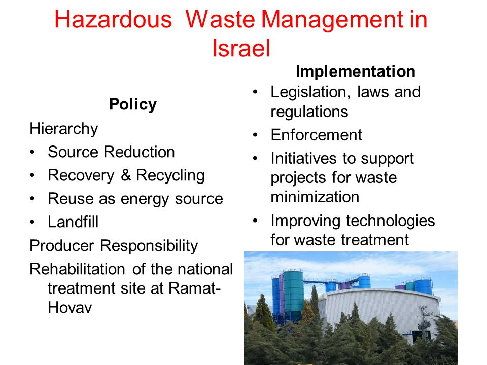 Hazardous Waste Management in Israel Policy Hierarchy Source Reduction Recovery & Recycling Reuse as energy source Landfill Producer Responsibility Rehabilitation of the national treatment site at Ramat- Hovav Implementation Legislation, laws and regulations Enforcement Initiatives to support projects for waste minimization Improving technologies for waste treatment