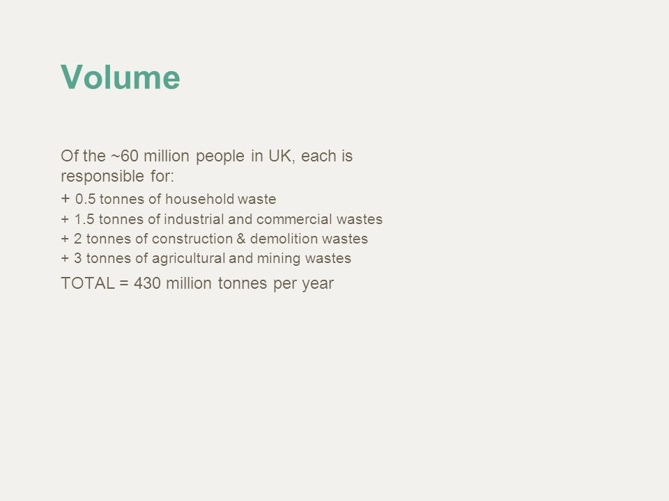 Volume Of the ~60 million people in UK, each is responsible for: + 0.5 tonnes of household waste + 1.5 tonnes of industrial and commercial wastes + 2