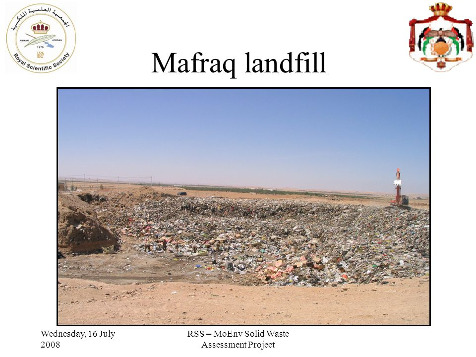 Wednesday, 16 July 2008 RSS – MoEnv Solid Waste Assessment Project Groundwater 4 wells بئر الغزاويبئر السلطةبئر أبو كشكبئر الطباعUnitsparameter 7.957.50 7.687.11SUPH 878739 9731076Us/cmEC 450402 541618mg/lTDS 0.2445.00 8.02.5NTUTurbidity <5 PCUColor 36.344.5 4959mg/lSO4 11181 13099mg/lCl 6155 67mg/lNa 3029 2138mg/lMg 7454 111114mg/lCa <0.12.3 3.3<0.1mg/lNO3 3.380.36 2.641.65mg/lTOC 310256 364439mg/lTH <4.5 4.8<4.5mg/lTKN 318207 246306mg/lAlkalinity